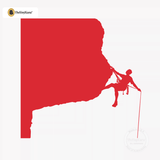 Rock Climbing Wall Decal - Man Mountain Climber Sticker #00021 - Red
