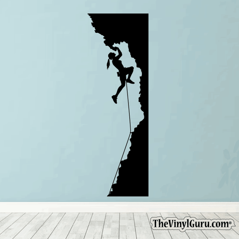 Rock Climbing Wall Decal - Woman Mountain Climber Sticker #00022