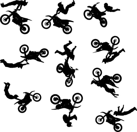 Motocross Dirt Bike Wall Decal Sticker Set of Ten