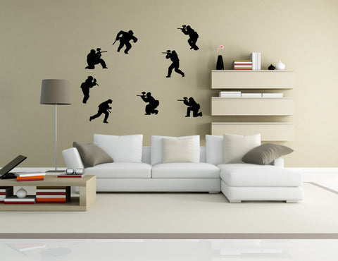 Paintball Wall Decal Sticker 9 - Set of Eight