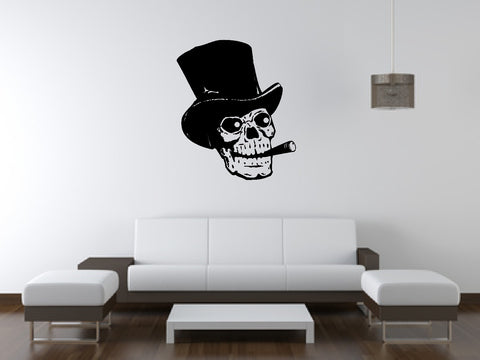 Human Skull Smoking with Top Hat Wall Decal Sticker 2