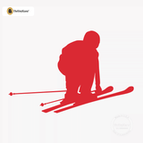 Skiing Wall Decal - Ski Sticker #00005 - Red