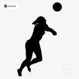 Volleyball Wall Sticker Decal - Male Defense Player Blocking Silhouette Decoration