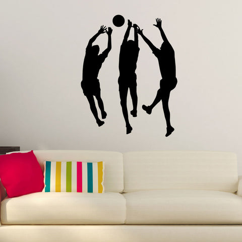 Volleyball Wall Sticker Decal - Male Players Blocking Attack Silhouette Decoration