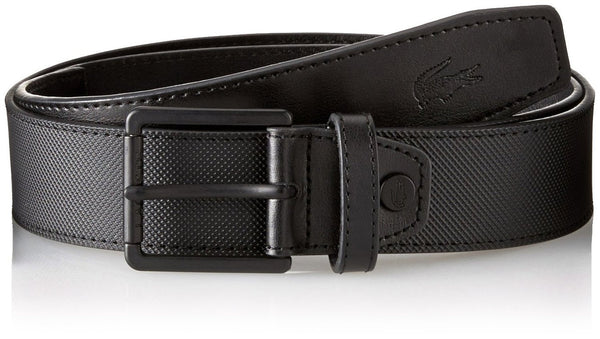 Lacoste PVC Pique Embossed-Croc Belt  - Black - Mens