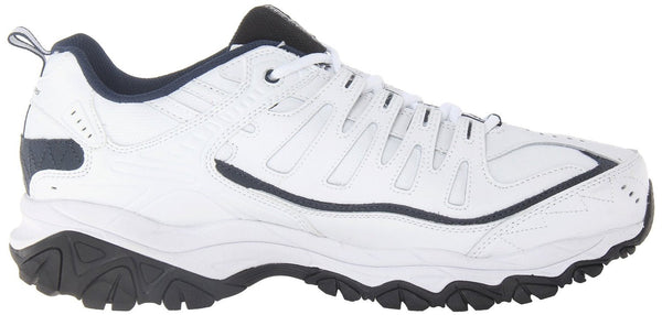 Skechers After Burn Memory Fit Reprint Running Shoe - White/Navy - Mens