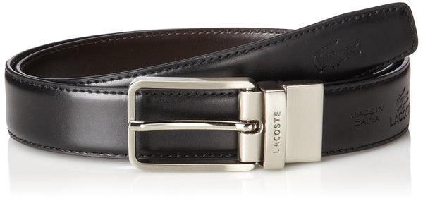 Lacoste Leather Nickel Embossed Croc Belt  - Black/Brown - Mens