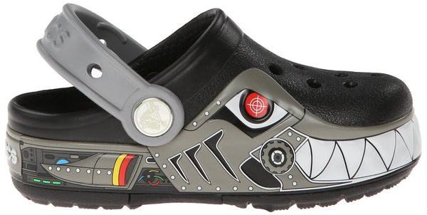 Crocs CrocsLights Robo Shark Clog Sandal - Black/Silver - Toddler