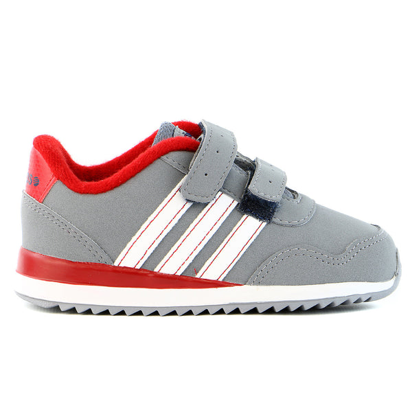 Adidas V Jog Toddler Running Shoe - Grey/White/Red - Infant