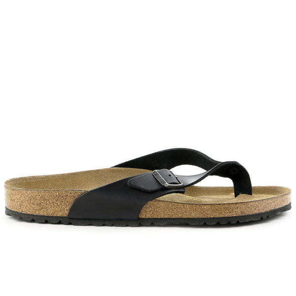 Birkenstock Adria Oil Leather Thong Sandal - Black - Womens