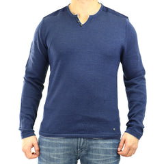 Buffalo Walleys L/S Slit Neck Tee - Heather Whale - Mens