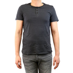 Buffalo by David Bitton Nifun Cotton Henley T-Shirt Casual Tee - Faded Cannon - Mens