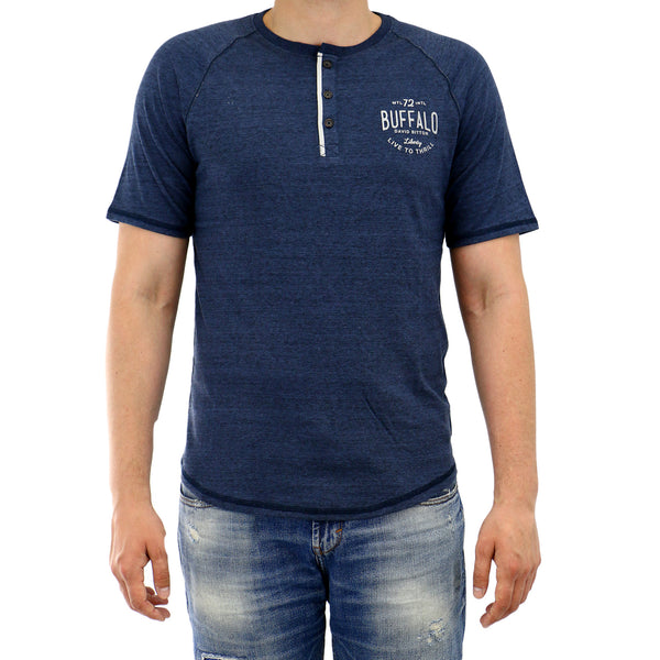 Buffalo Nadeck Raglan Henley Short Sleeve Tee Fashion T-Shirt - Heather Whale - Mens