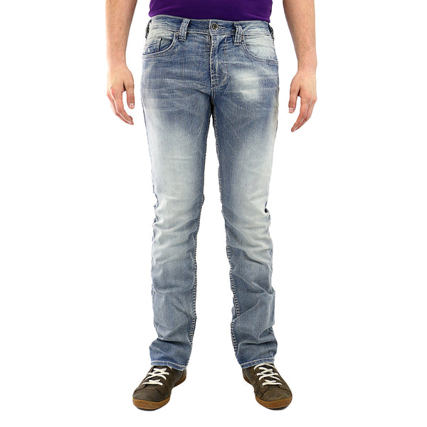 Buffalo by David Bitton Evan-X Slim Straight Fit Jeans - Lightly Faded/Torn - Mens
