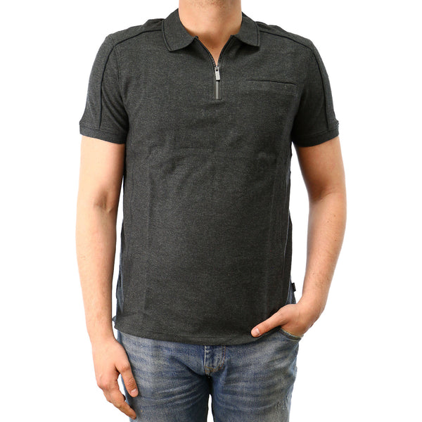 Calvin Klein SLIM FIT PIMA COTTON ZIPPED POLO SHIRT  - Black - Mens