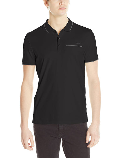 Calvin Klein Polo with Contrast Collar Piping  - Black - Mens