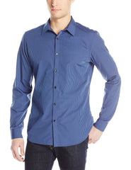 Calvin Klein Poplin Long Sleeve Woven Shirt  - Knight Blue - Mens