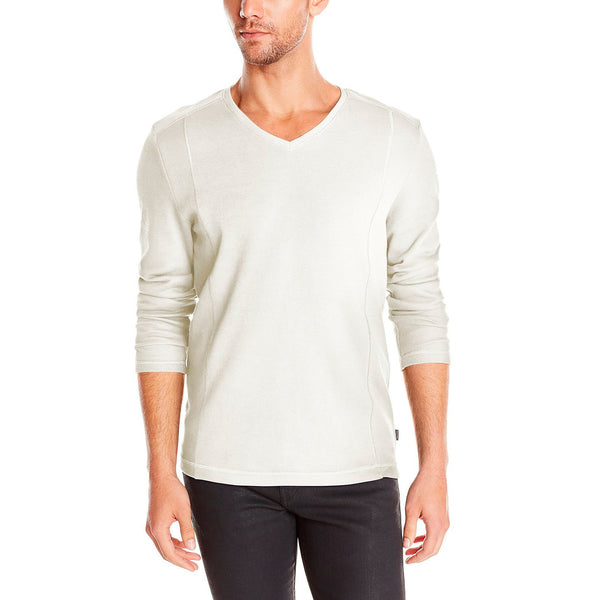 Calvin Klein Long Sleeved French Rib V-Neck Shirt  - Snow White - Mens