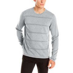 Calvin Klein Sportswear Men's Ottoman Stripe Sweater  - Soft Grey Heather - Mens
