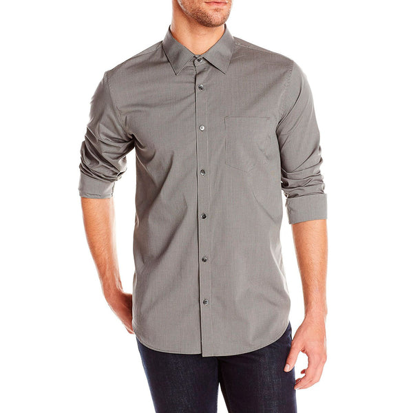 Calvin Klein Fine Line Dobby Long Sleeve Woven Shirt  - Carbon - Mens