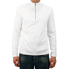 Calvin Klein 1/4 Zip Interlock Sweatshirt with Nylon Details  - White - Mens