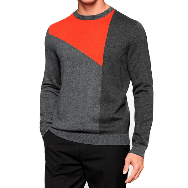 Calvin Klein Color Blocked Sporty Intarsia Crew Neck Sweater  - Steel Grey Heather - Mens