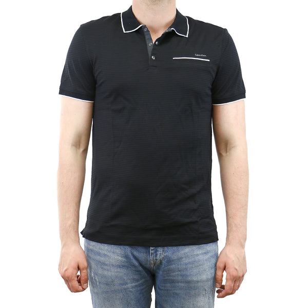 Calvin Klein Multi Count Stripe with Tipping Polo Shirt - Black - Mens