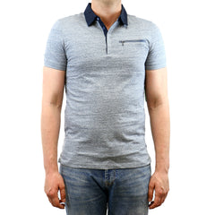 Calvin Klein Jersey With Woven Collar Polo Shirt - Nantucket Heather - Mens