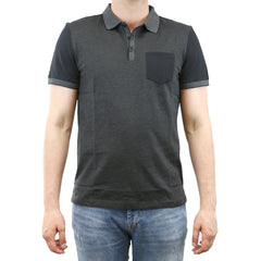 Calvin Klein Blocked Jacquard Polo Shirt - Black - Mens