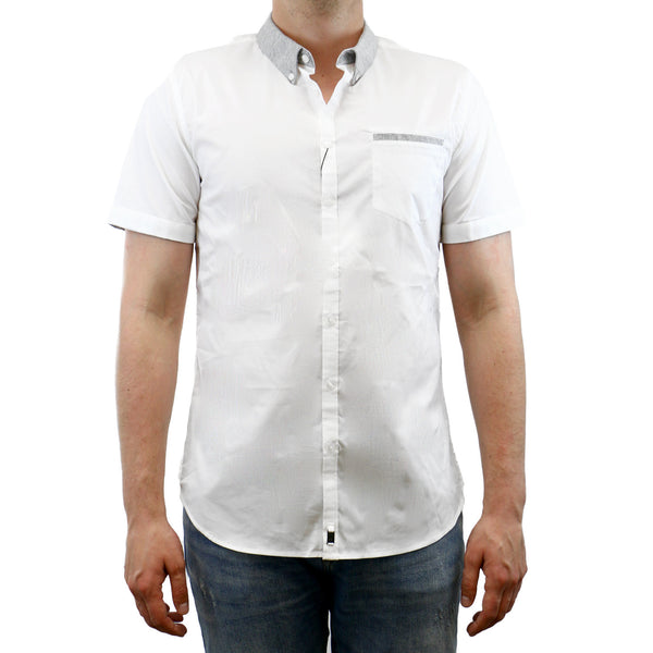 Calvin Klein Knit Trim Solid PD Short Sleeve Shirt - White - Mens