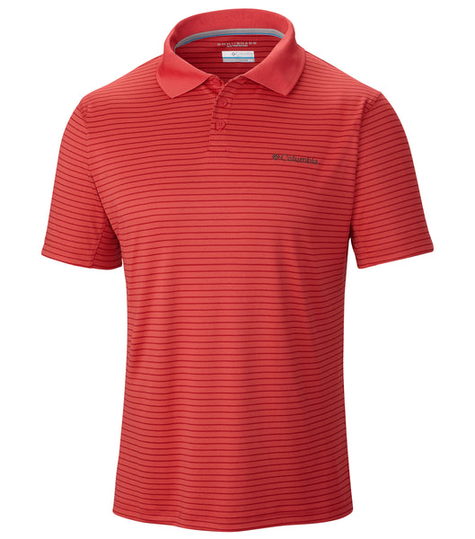 Columbia Utilizer Stripe Polo Shirt - Sunset Red - Mens