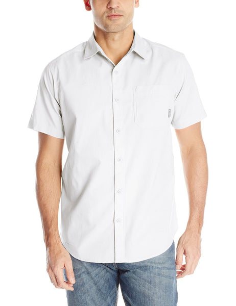 Columbia Thompson Hill Solid Short Sleeve Botton Down Shirt - White - Mens