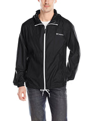 Columbia Flashback Windbreaker Full Zip Rain Jacket - Black/White - Mens