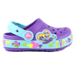 Crocs Crocslight Butterfly Clog Sandal Shoe - Neon Purple/Aqua - Girls