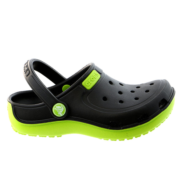 Crocs Duet Wave K Clog Sandal - Black/Volt Green - Girls
