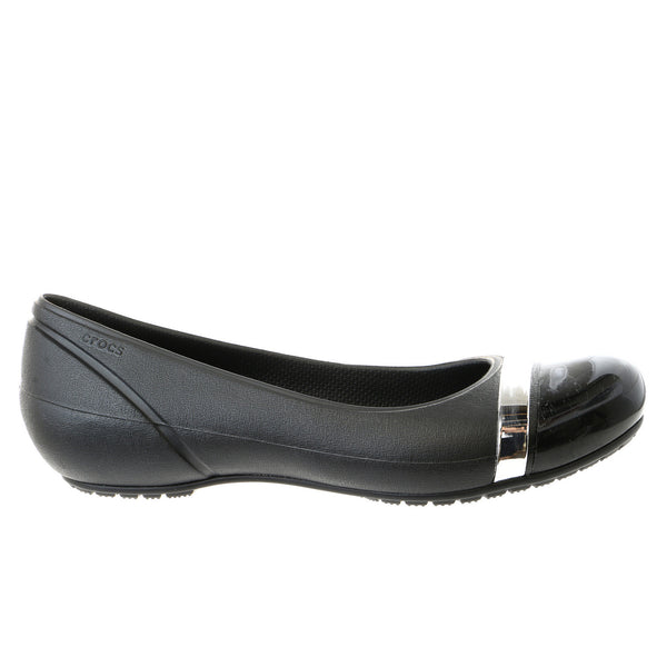 Crocs Cap Toe Mirror Ballet Flats Shoe - Black/Black - Womens