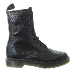 Dr. Martens Alix 10-Eye Zip Casual Boot - Black Hi Shine Snake - Womens