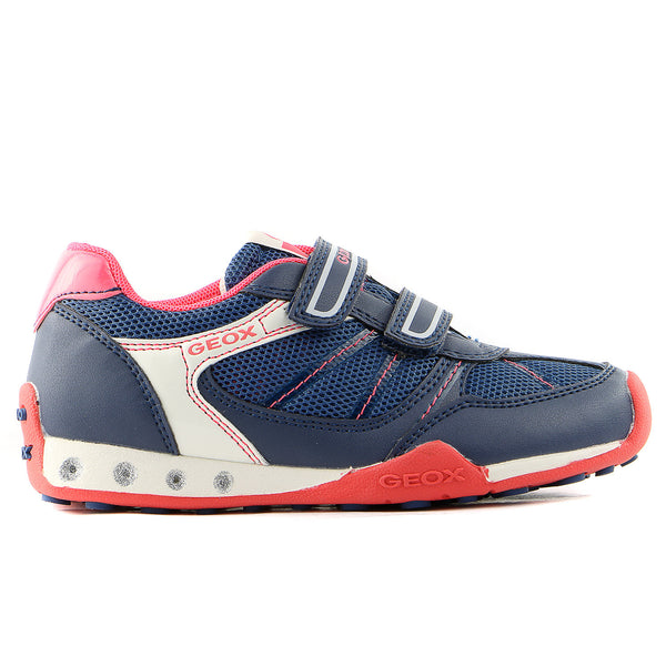 Geox Jocker Girl Sneaker Shoe - Blue/Coral - Girls