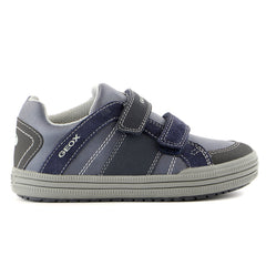 Geox J Elvis Low Top Fashion Sneaker Shoe - Dark Grey - Boys