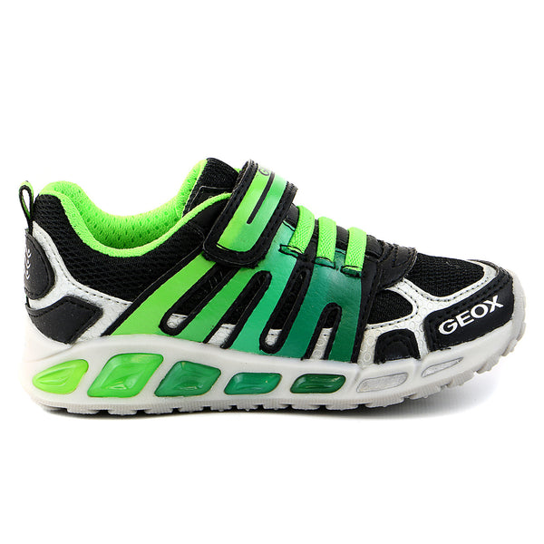 Geox Shuttle Boy 1 Running Sneaker Shoe - Black/Green - Boys