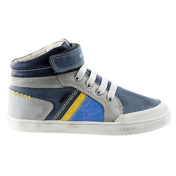 Geox J Kiwi High Top Sneaker Shoe - Navy / Yellow - Boys