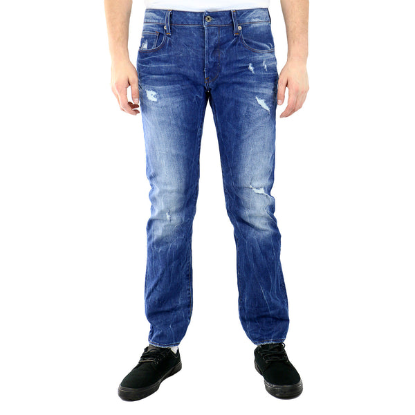G-Star 3301 Stright Comfort Accel Denim Jeans - Light Aged Destroy - Mens