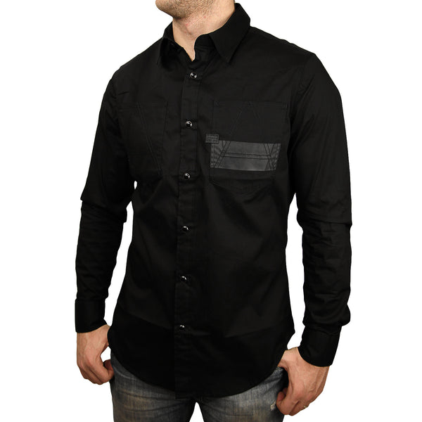 G-Star A Crotch White Work Button Down Shirt - Black - Mens