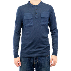 G-Star Ainsdock Granddad Long Sleeve Tee T-Shirt - Dark Saru Blue - Mens