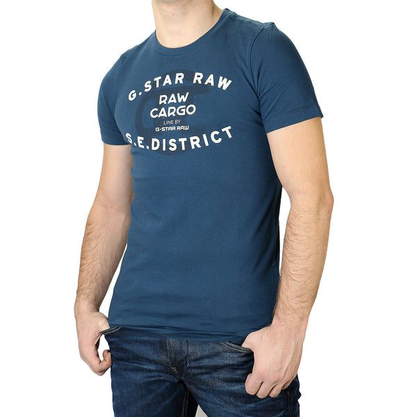 G-Star Order Logo Fashion Tee T-Shirt - Blue - Mens