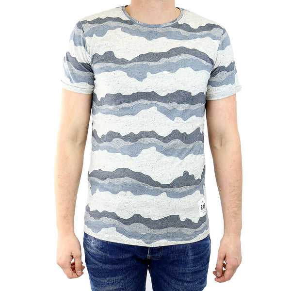 G-Star Yoshem Crew Neck Shortsleeve Stripe Camo T-Shirt Fashion Tee - Snow Heather - Mens