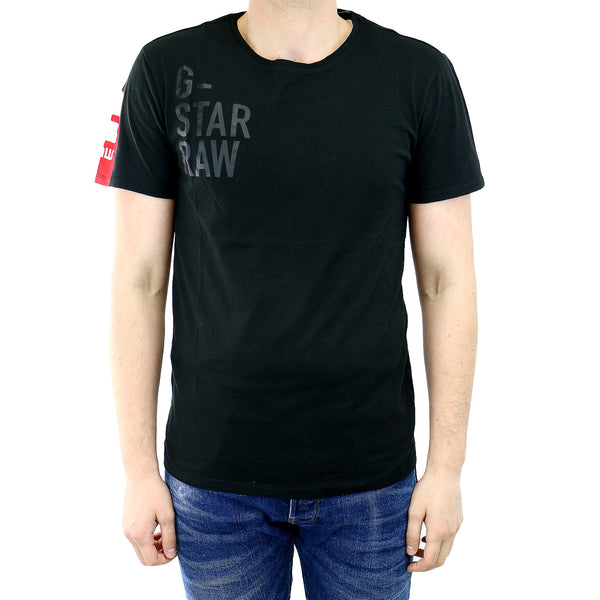 G-Star Ramiton Long Crew Neck Short Sleeve T-Shirt Fashion Tee - Black - Mens