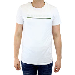 G-Star Rezton Long Crew Neck Shortsleeve T-Shirt Fashion Tee - White - Mens
