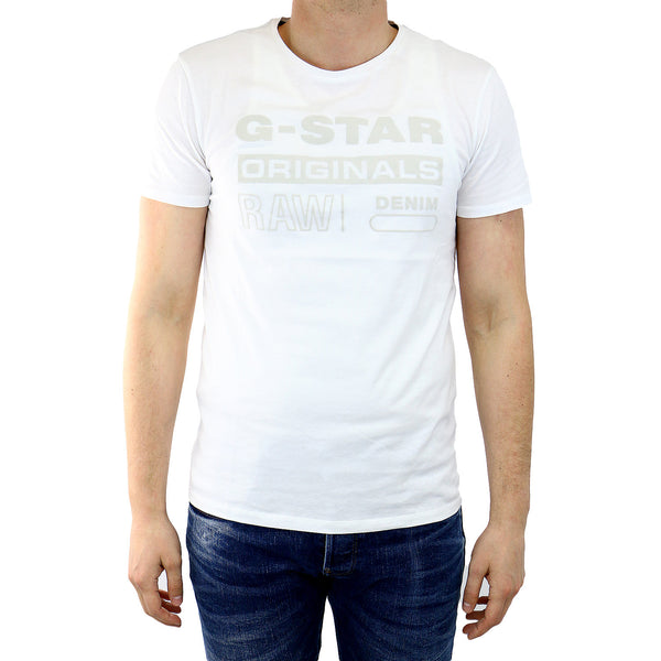 G-Star Wapro Long Crew Neck Short Sleeve T-Shirt Fashion Tee - White - Mens
