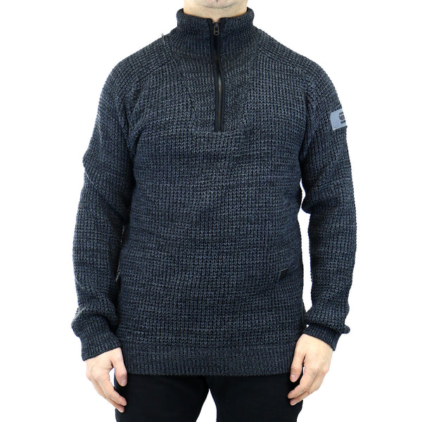 G-Star Binorma Zip Knit Pullover - Grey - Mens